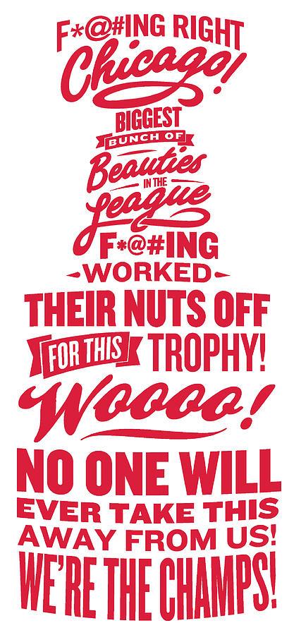 Chicago Blackhawks Digital Art - Corey Crawford Cup Speech by The Heckler