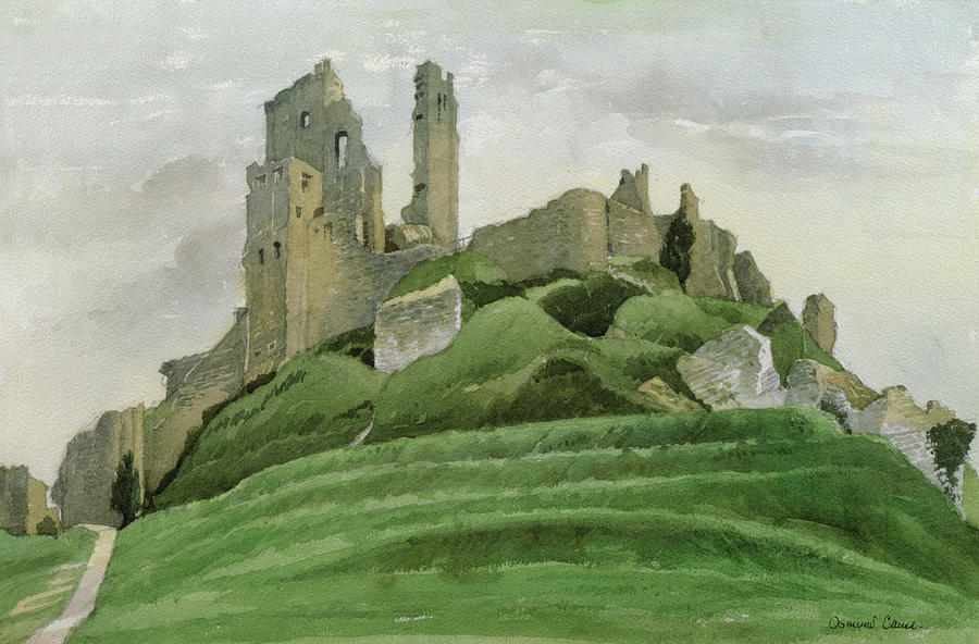 Ruin Drawing - Corfe Castle by Osmund Caine