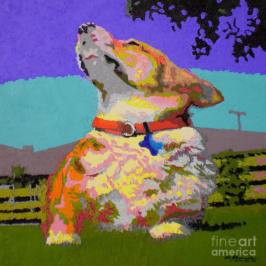 Dog Painting - Corgi Sun Bathing V.1 by Max Yamada