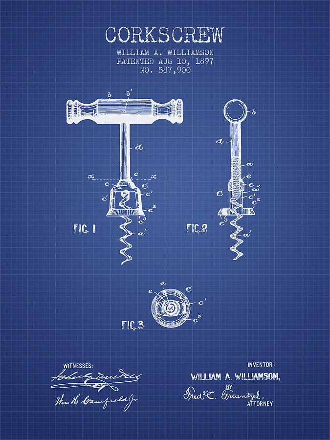 Corkscrew patent from 1897 blueprint digital art by aged pixel corkscrew digital art corkscrew patent from 1897 blueprint by aged pixel malvernweather Image collections