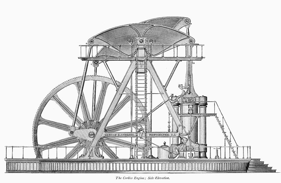 1876 Photograph - Corliss Steam Engine, 1876 by Granger