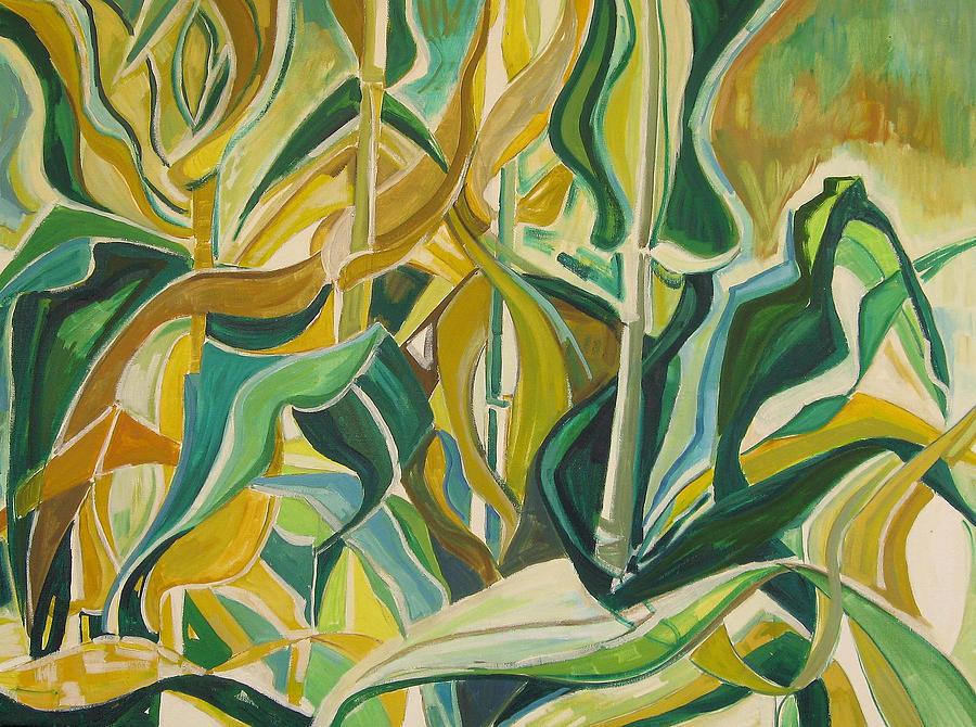 Farm Painting - Corn Curves by Catherine Jones Davies
