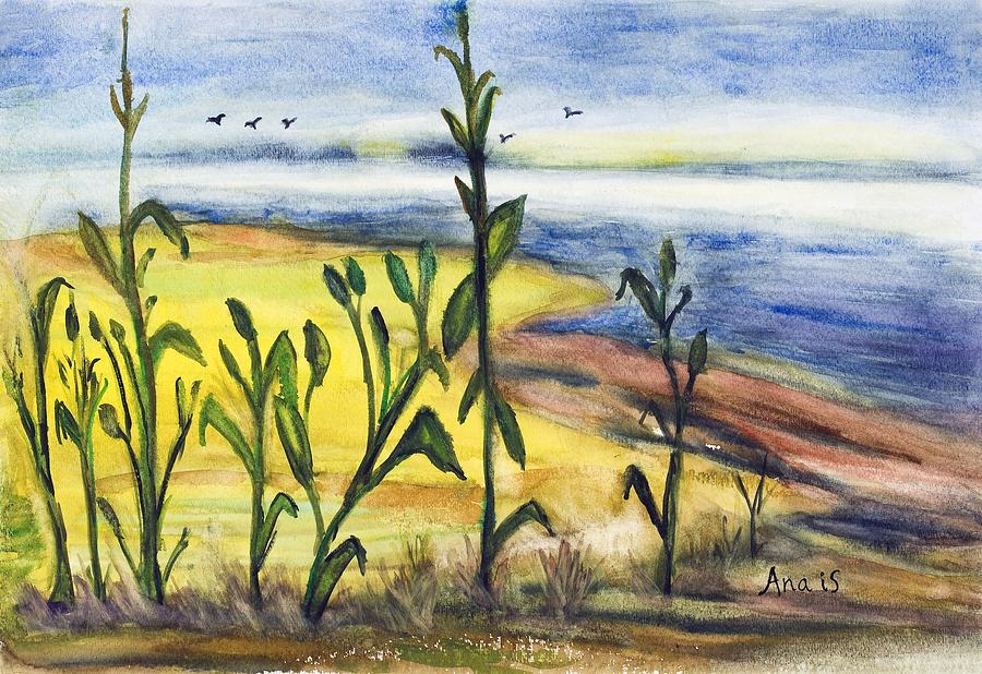 Corn Painting - Corn Field By The Sea by Anais DelaVega