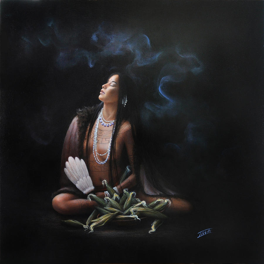 Women Portrait Paintings Painting - Corn Mother by Sharon Irla
