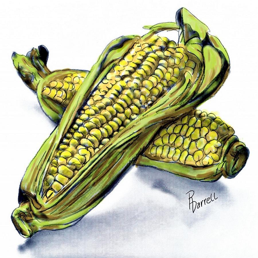 Corn Digital Art - Corn Study by Ric Darrell