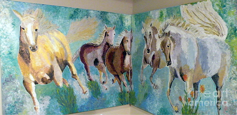 Horses Painting - Corner Horses by Vicky Tarcau