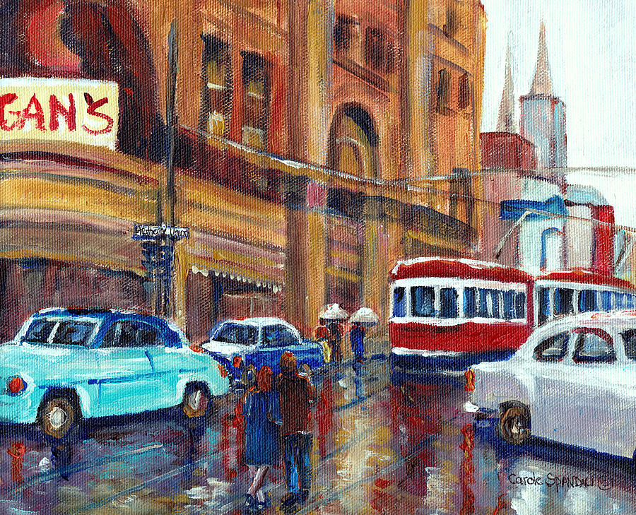 Montreal Painting - Corner St.catherine And Union Streets-fifties Montreal-vintage Street Scene by Carole Spandau