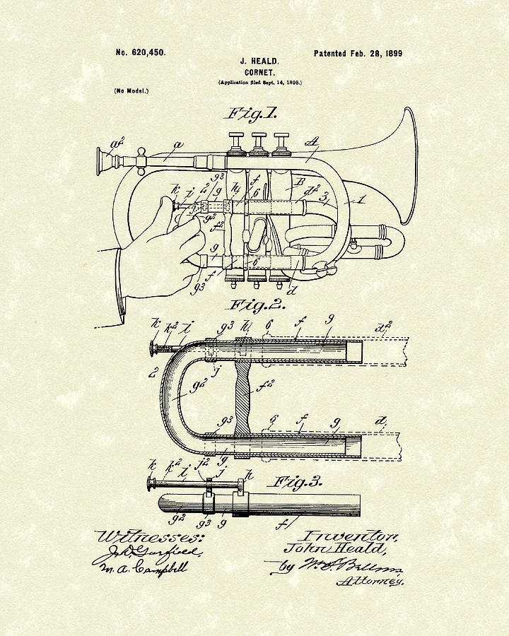Cornet 1899 Patent Art by Prior Art Design