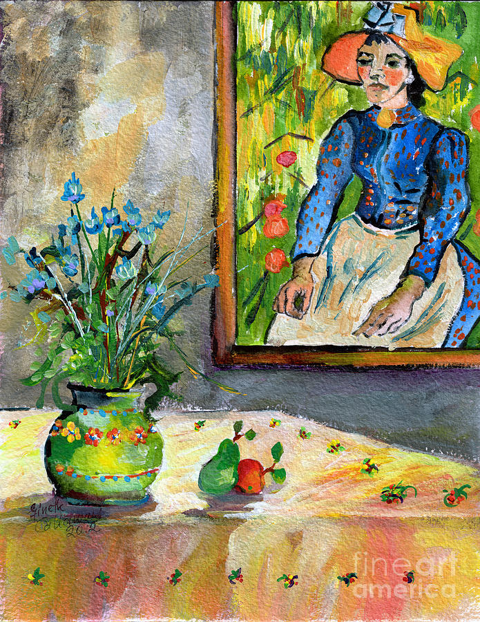 Van Gogh Painting - Cornflowers In French Pottery And Van Gogh Painting On Wall by Ginette Callaway