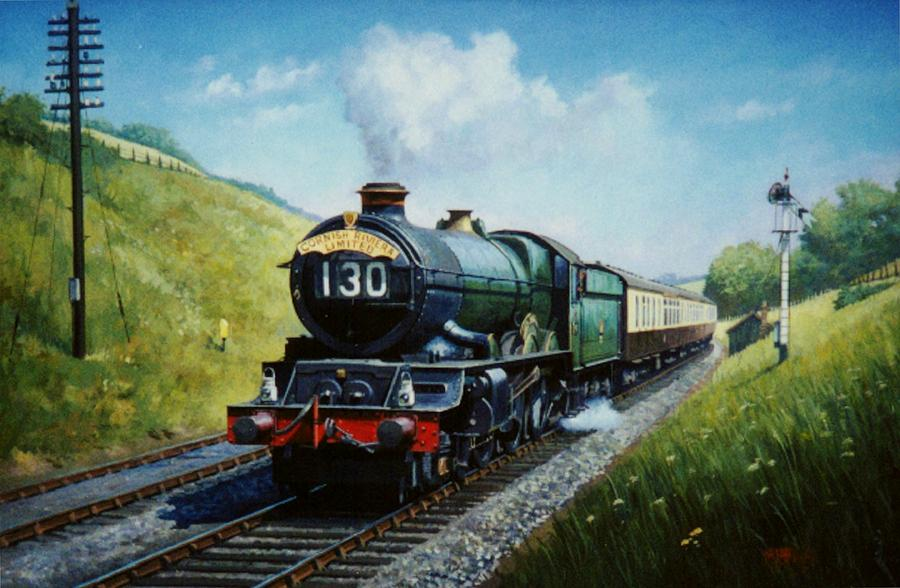 Steam Train\commission A Painting Painting - Cornish Riviera To Paddington. by Mike  Jeffries