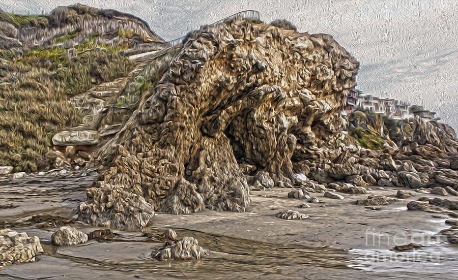 Crystal Cove Painting - Corona Del Mar Sea Cave by Gregory Dyer