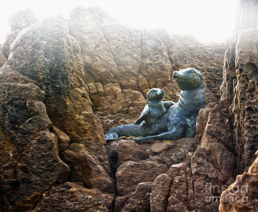 Crystal Cove Painting - Corona Del Mar Seals Statue by Gregory Dyer