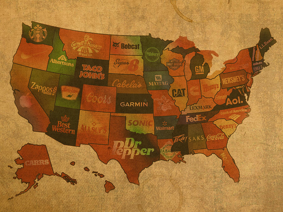 Corporate America Map Mixed Media by Design Turnpike