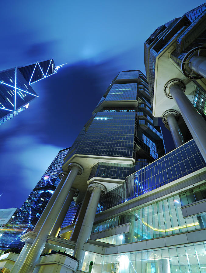 Corporate Buildings At Night Photograph by Ngkaki