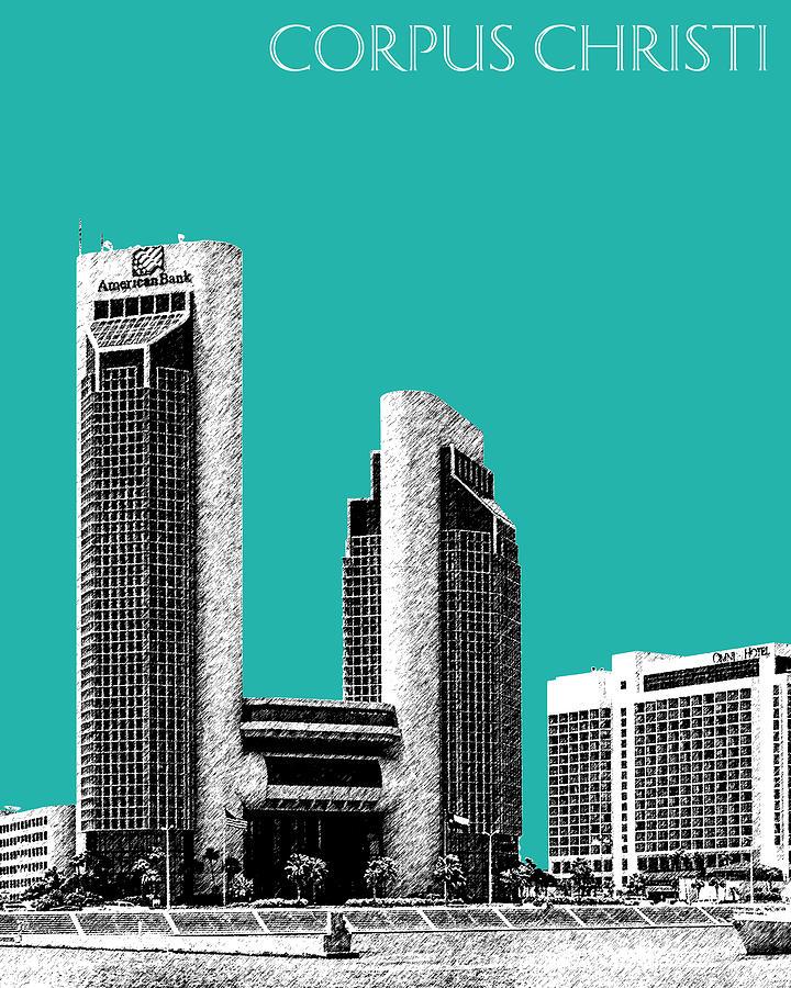 Architecture Digital Art - Corpus Christi Skyline - Teal by DB Artist
