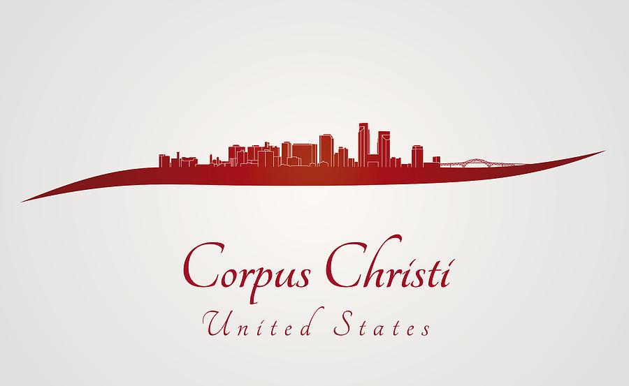 Corpus Christi Skyline In Red Digital Art