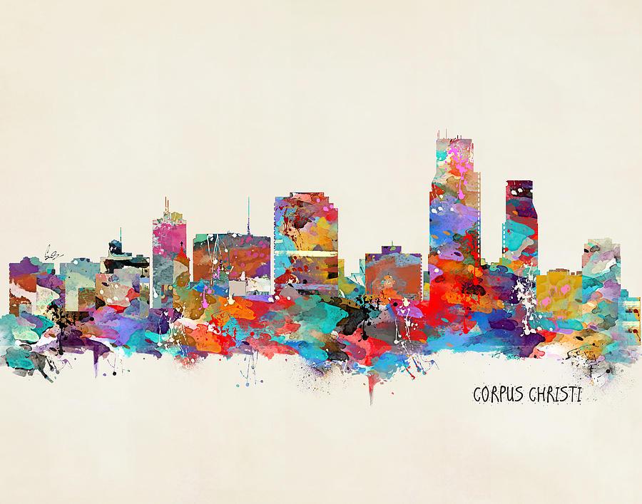 Corpus Christi Texas Painting - Corpus Christi Texas Skyline by Bri Buckley