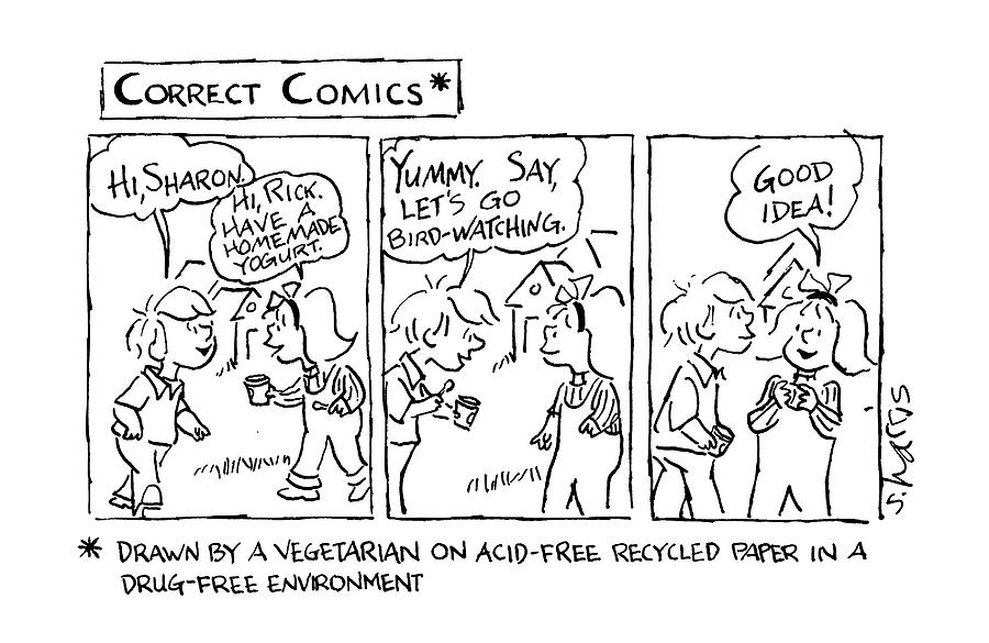 Correct Comics* *drawn By A Vegetarian Drawing by Sidney Harris