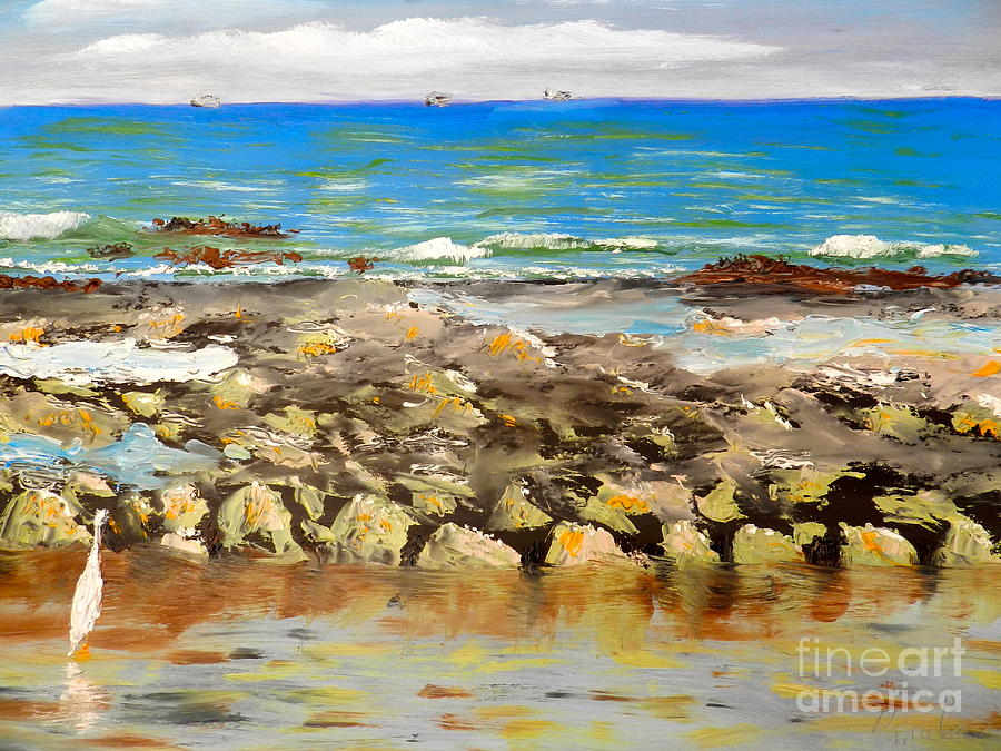 Impressionism Painting - Corrimal Beach Near Towradgi Rook Pool by Pamela  Meredith