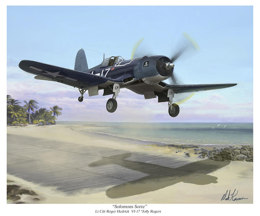 Airplane Painting - Corsair Takeoff VF-17 Jolly Rogers by Mark Karvon