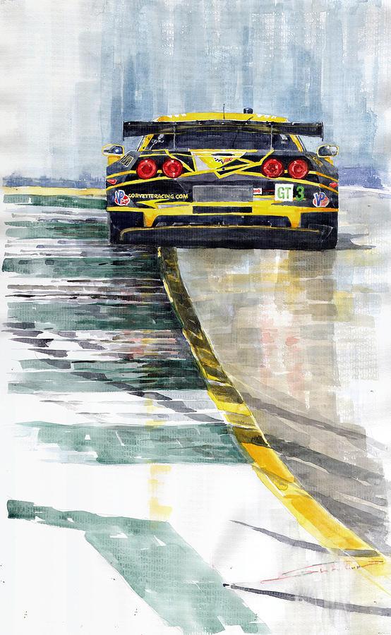 Watercolor Painting - Corvette C6 by Yuriy Shevchuk