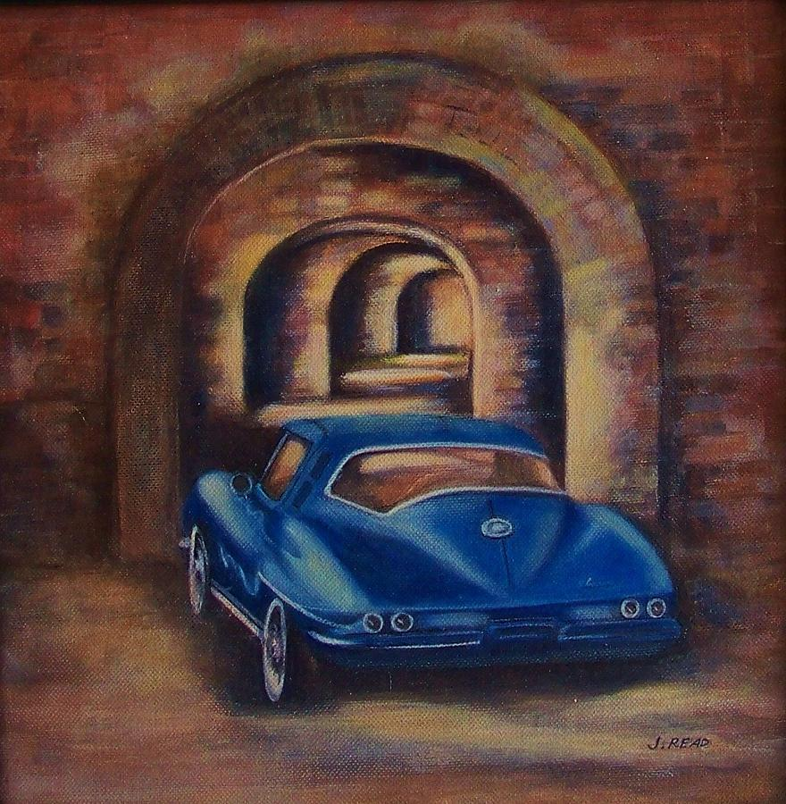 Classic Car Painting - corvette Fort Mccomb by Jane Landry  Read