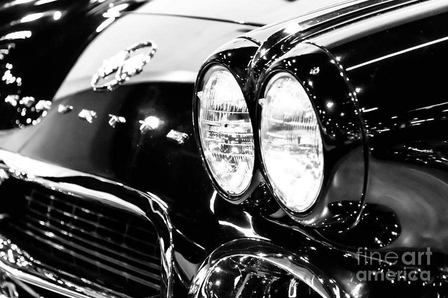 1950s Photograph - Corvette Picture - Black And White C1 First Generation by Paul Velgos