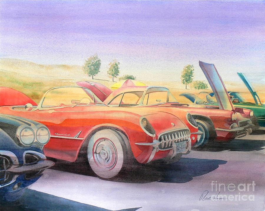 Watercolor Painting - Corvette Show by Robert Hooper