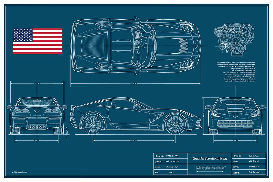 Corvette Stingray Digital Art - Corvette Stingray Blueplanprint by Douglas Switzer