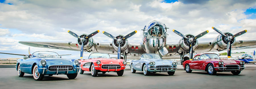 Chevrolet Photograph - Corvettes With B17 Bomber by Jill Reger