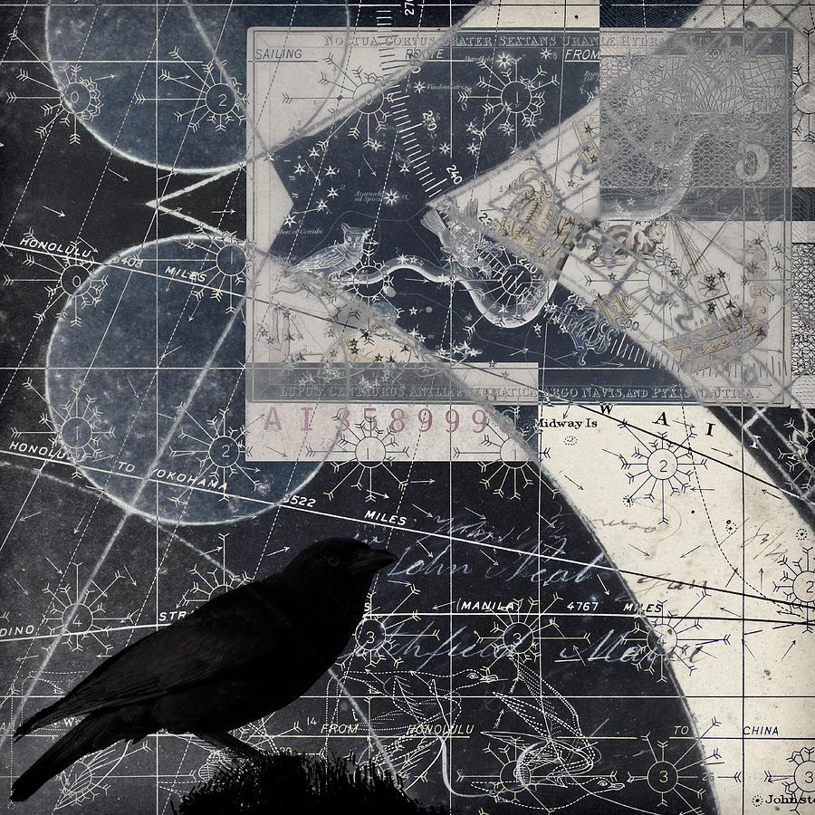 Crow Photograph - Corvus Star Chart by Carol Leigh