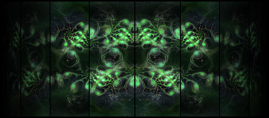 Corporate Digital Art - Cosmic Alien Eyes Green by Shawn Dall