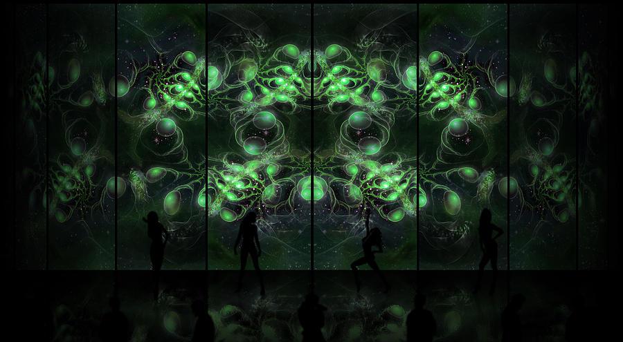 Corporate Digital Art - Cosmic Alien Vixens Green by Shawn Dall