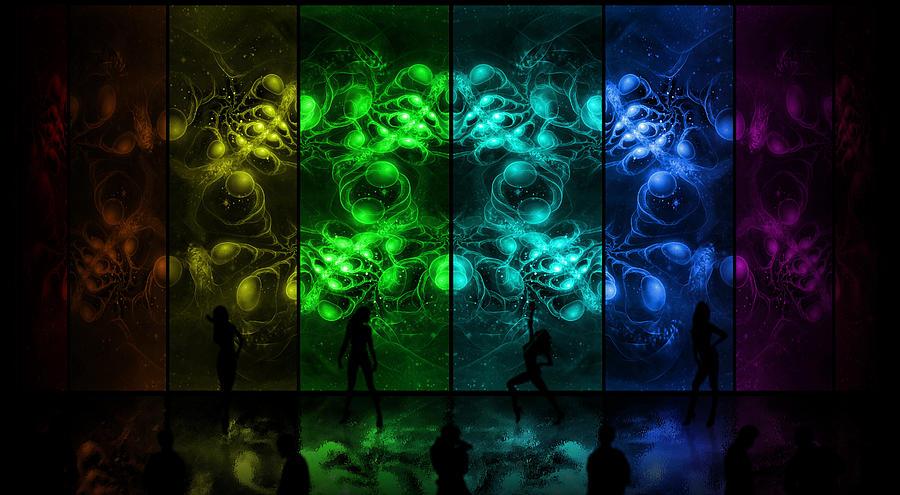 Corporate Digital Art - Cosmic Alien Vixens Pride by Shawn Dall