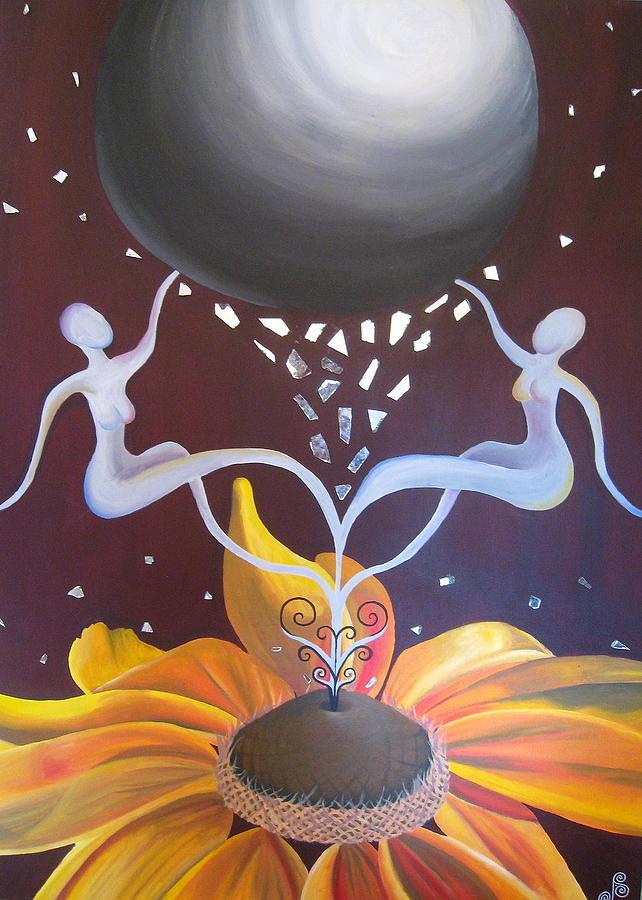 Flower Painting - Cosmic Bloom by Jen Santa