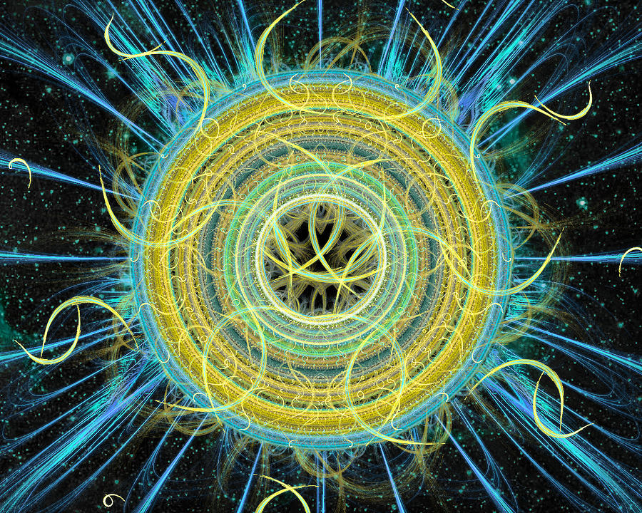 Abstract Digital Art - Cosmic Circle Fusion by Shawn Dall
