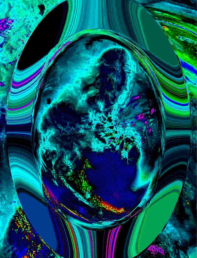 Blue Digital Art - Cosmic Egg - Blue by Colleen Cannon