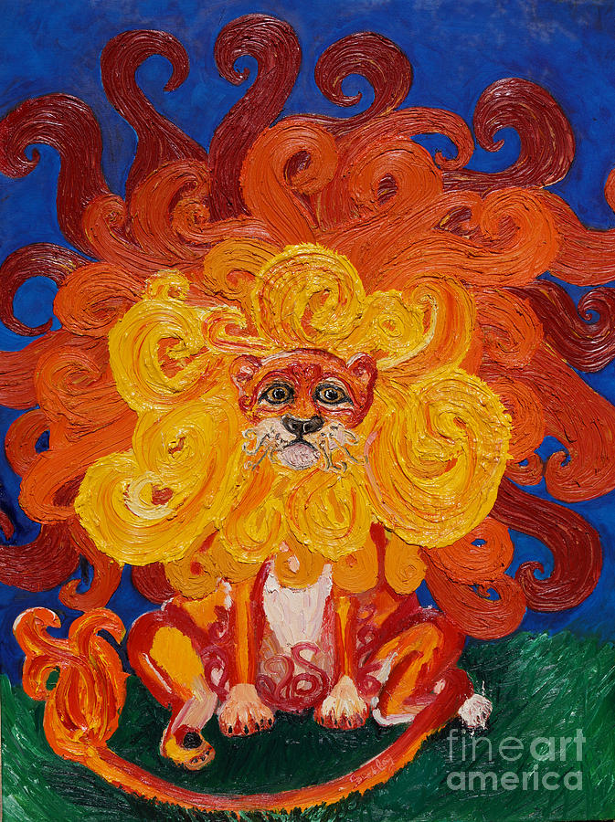 Lion Painting - Cosmic Lion by Cassandra Buckley
