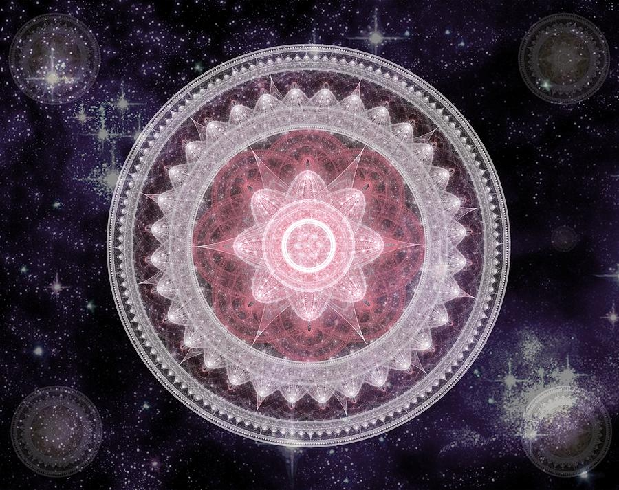 Corporate Digital Art - Cosmic Medallions Fire by Shawn Dall