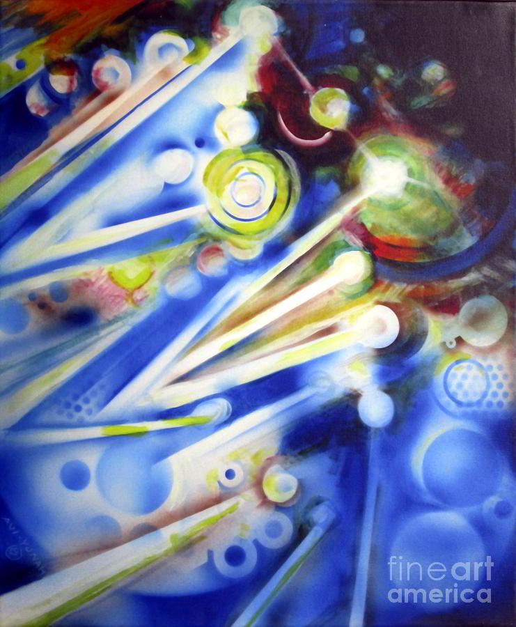 Kabbalah Paintings Painting - Cosmic Orbs #7 by Yael Avi-Yonah