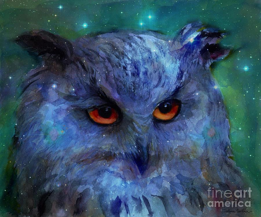 Owl Painting - Cosmic Owl Painting by Svetlana Novikova
