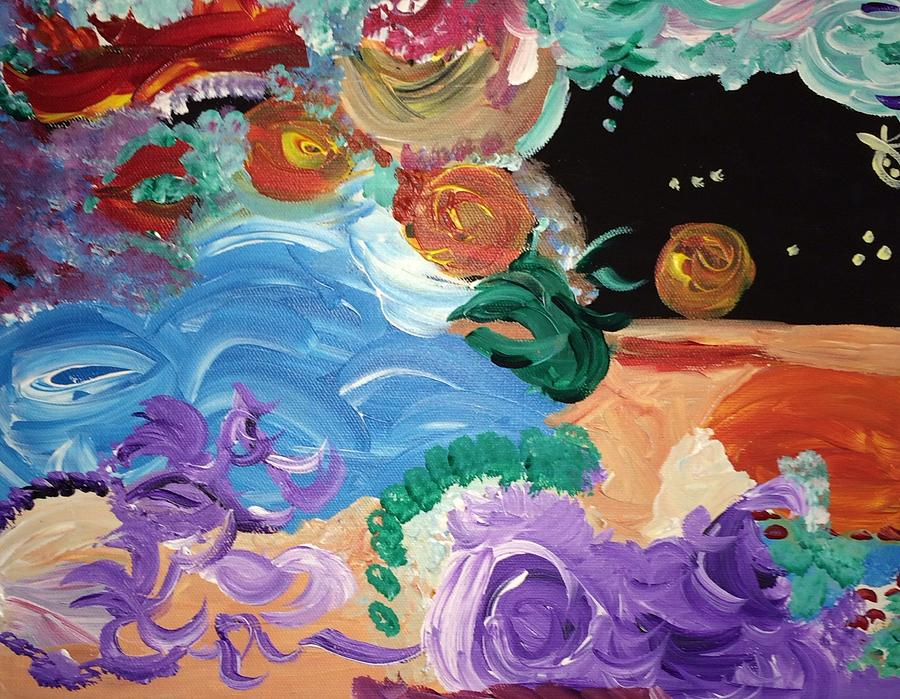 Trippy Painting - Cosmic Party People by Nicki La Rosa