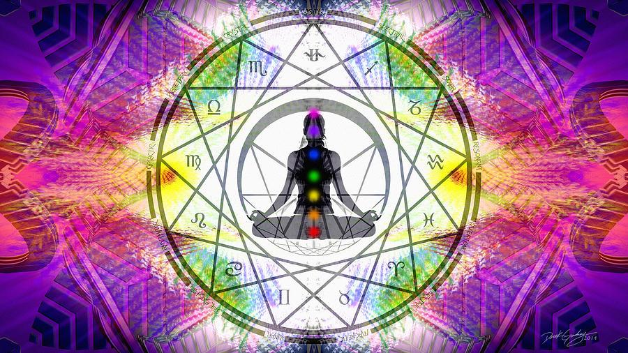Sacred Digital Art - Cosmic Spiral Ascension 14 by Derek Gedney