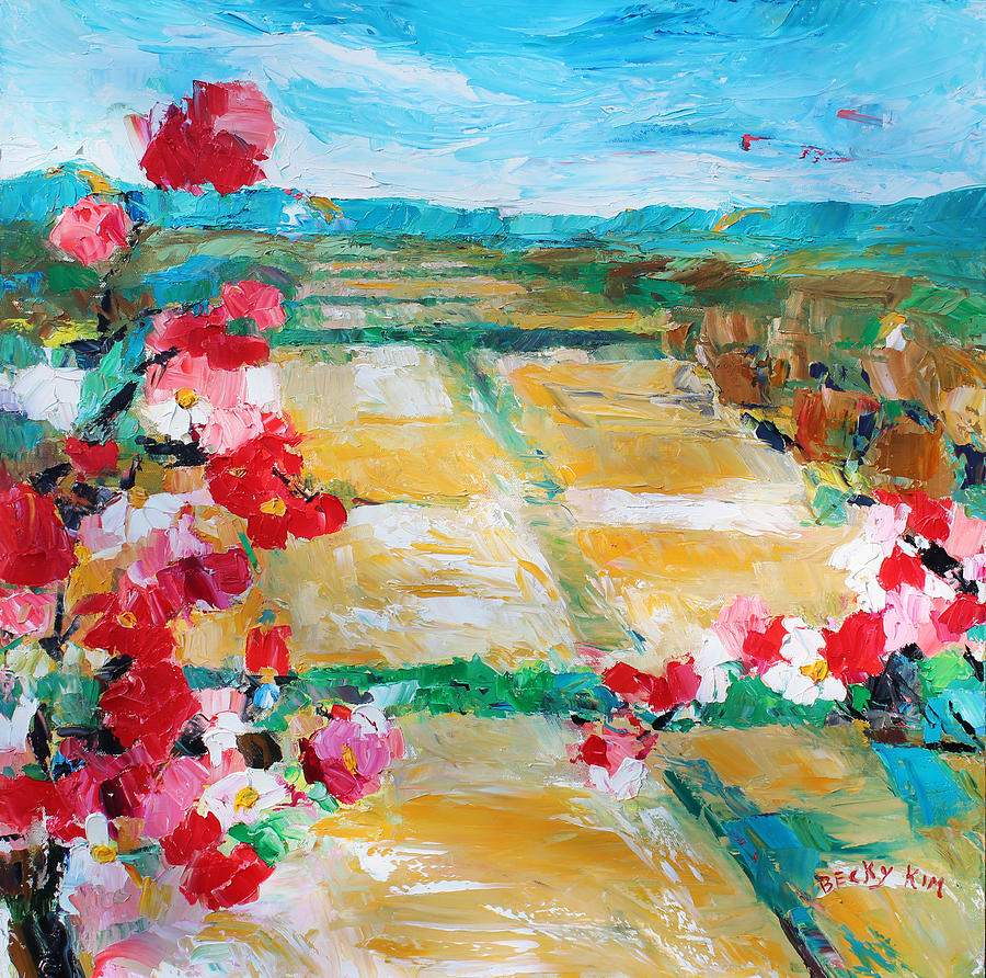 Oil Painting - Cosmos In The Field 2 by Becky Kim