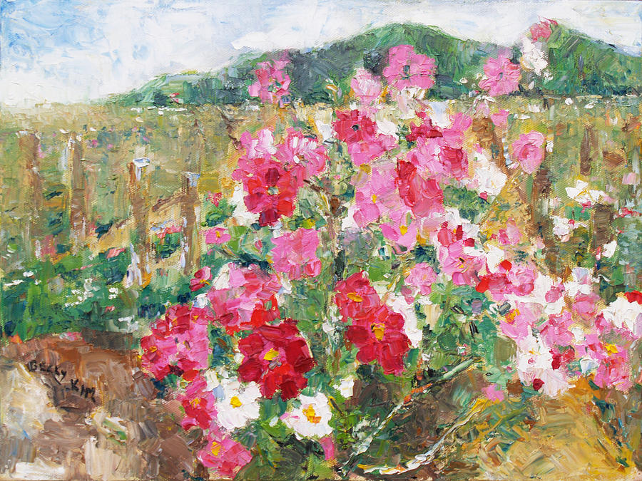 Oil Painting - Cosmos In The Field by Becky Kim