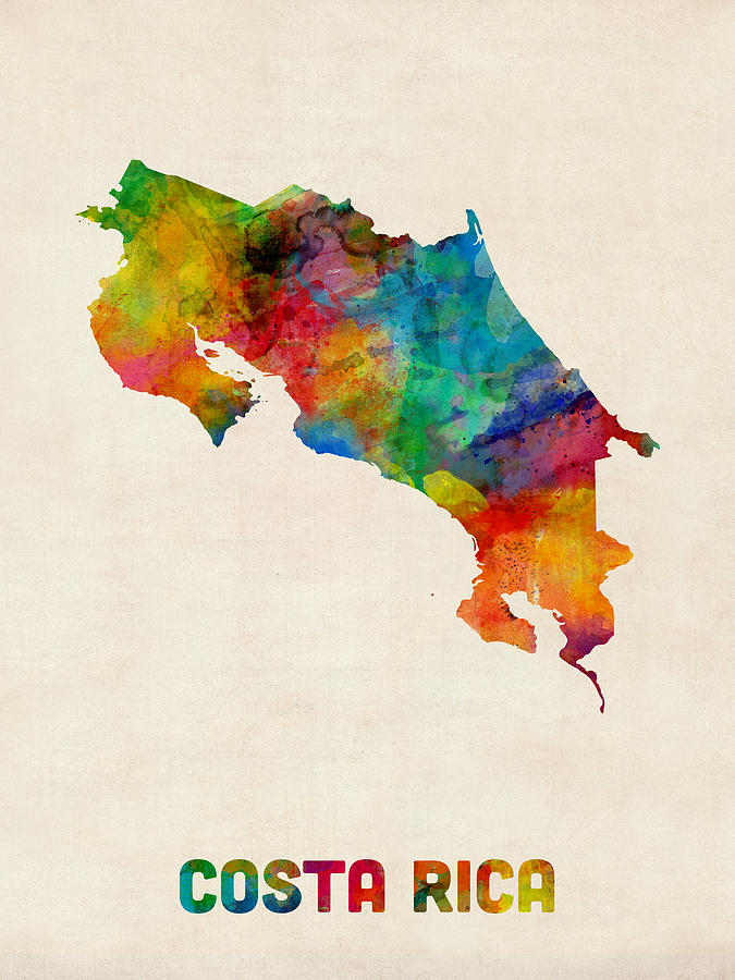 Germany Map Digital Art - Costa Rica Watercolor Map by Michael Tompsett