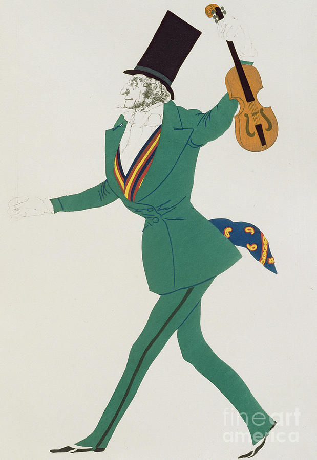 Leon Bakst Painting - Costume Design For Paganini In The Enchanted Night by Leon Bakst