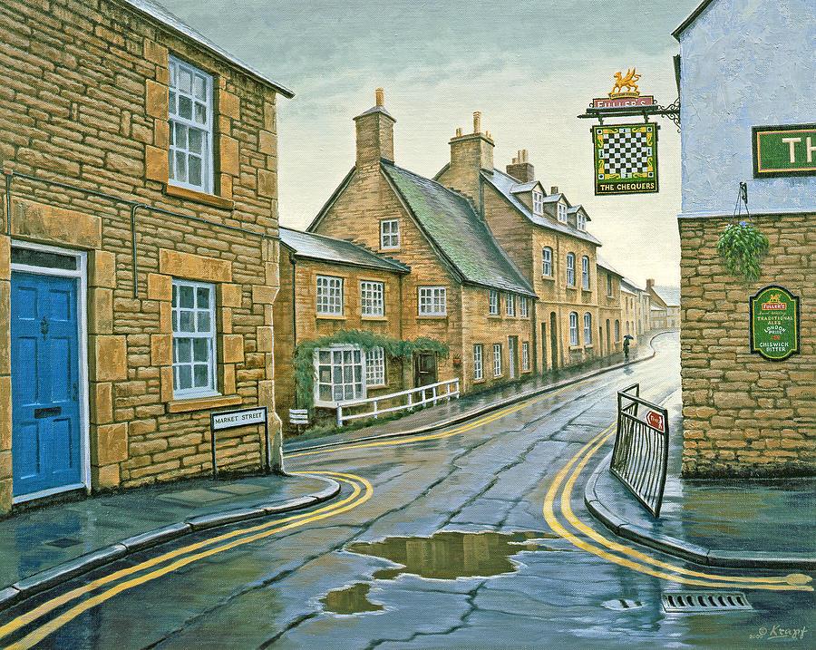 Landscape Painting - Cotswold Village-rainy Day by Paul Krapf