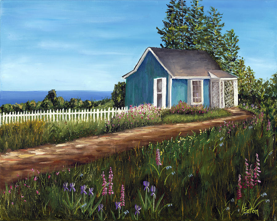 Blue House Painting - Cottage By The Sea by Helen Eaton