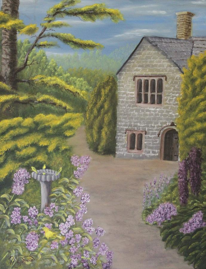 Landscape Painting - Cottage In The Woods by Lou Magoncia